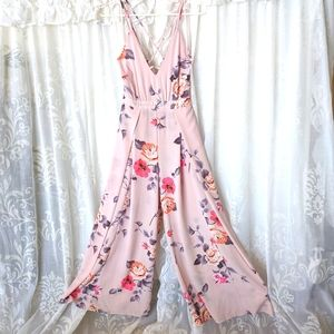 ALLY Dusty Pink Floral wife flare jumpsuit